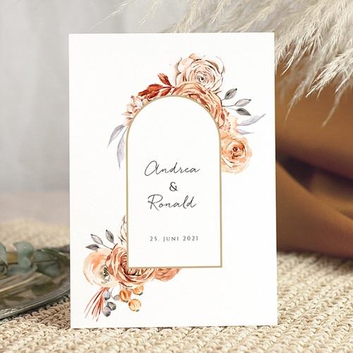 Hochzeitseinladungen Romantico, Rosen Karamellfarbe & Goldprägung
