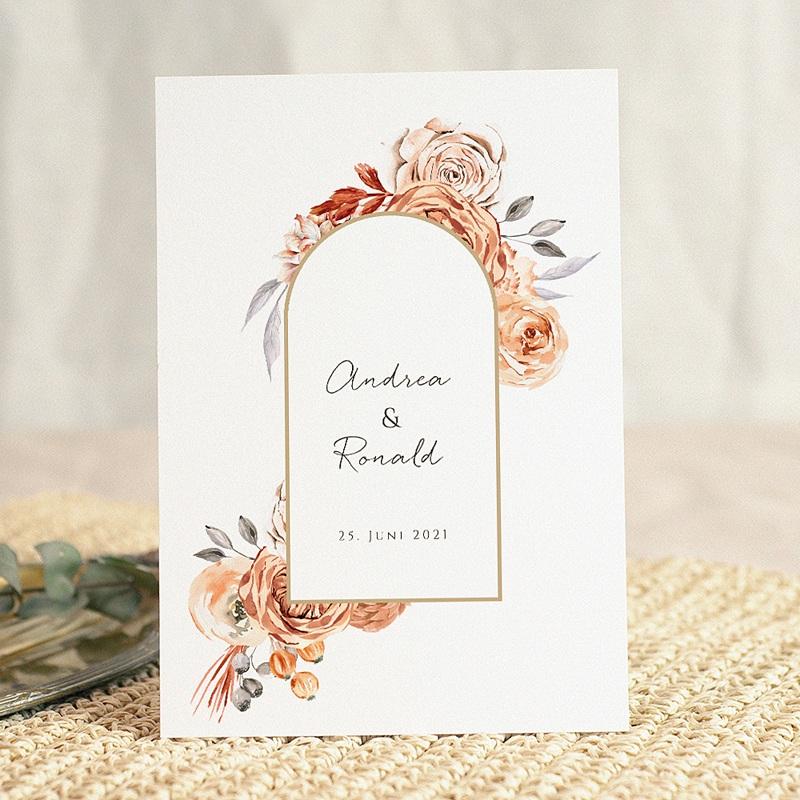 Hochzeitseinladungen Romantico, Rosen Karamellfarbe & Goldprägung gratuit