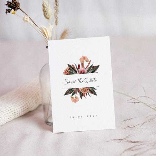 Save The Date Karten Hochzeit Roter Blumenstrauß, Der Große Tag