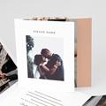 Dankeskarten Hochzeit Romantico, Roses caramel, 3 volets décalés
