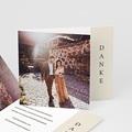 Dankeskarten Hochzeit Boho Olivenzweig beige, überstehende Klappkarte