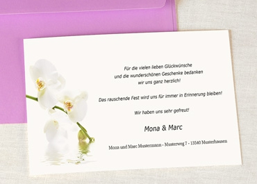 Klassische Dankeskarten Hochzeit